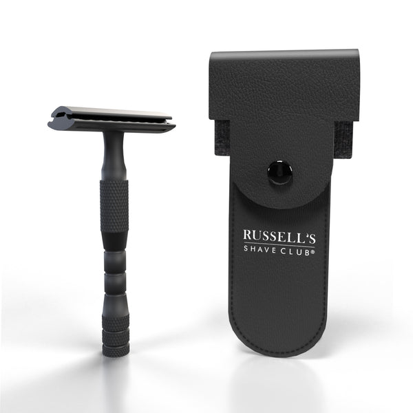 Matt Black Double Edge Safety Razor - Includes Travel Pouch & 10 Feather Blades