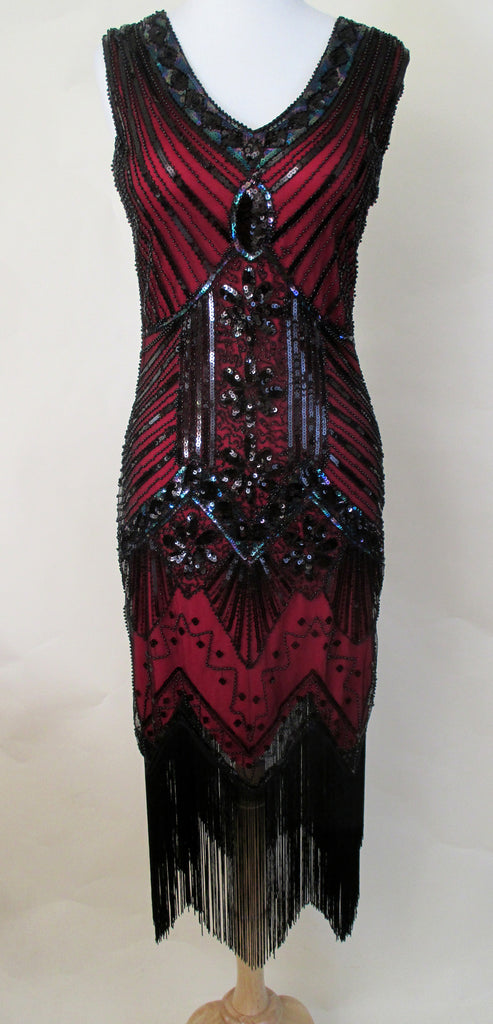 1920's Red Beaded Flapper Dress