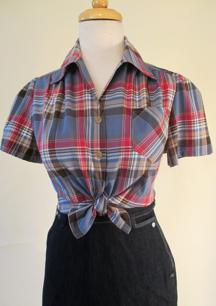 1940's style Plaid Work Blouse