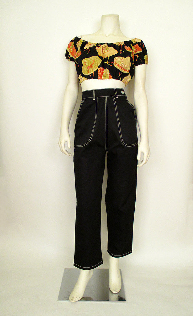 1950's Side Zip Black Jeans
