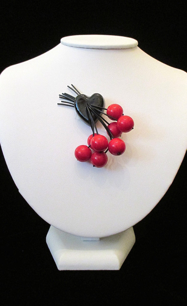 Vintage Black and Red Cherry Brooch