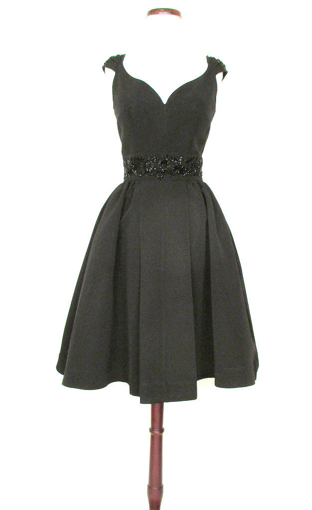 Audrey Black Beaded Party Dress