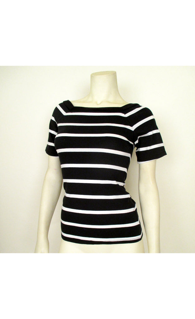 Black and White Stripe Knit Top