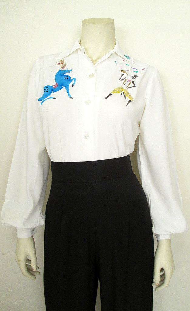"1940's Hand Painted ""Big Top"" Blouse"