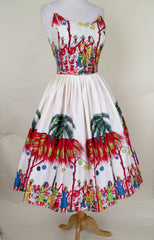 Calypso Dancers Border Print Sun Dress