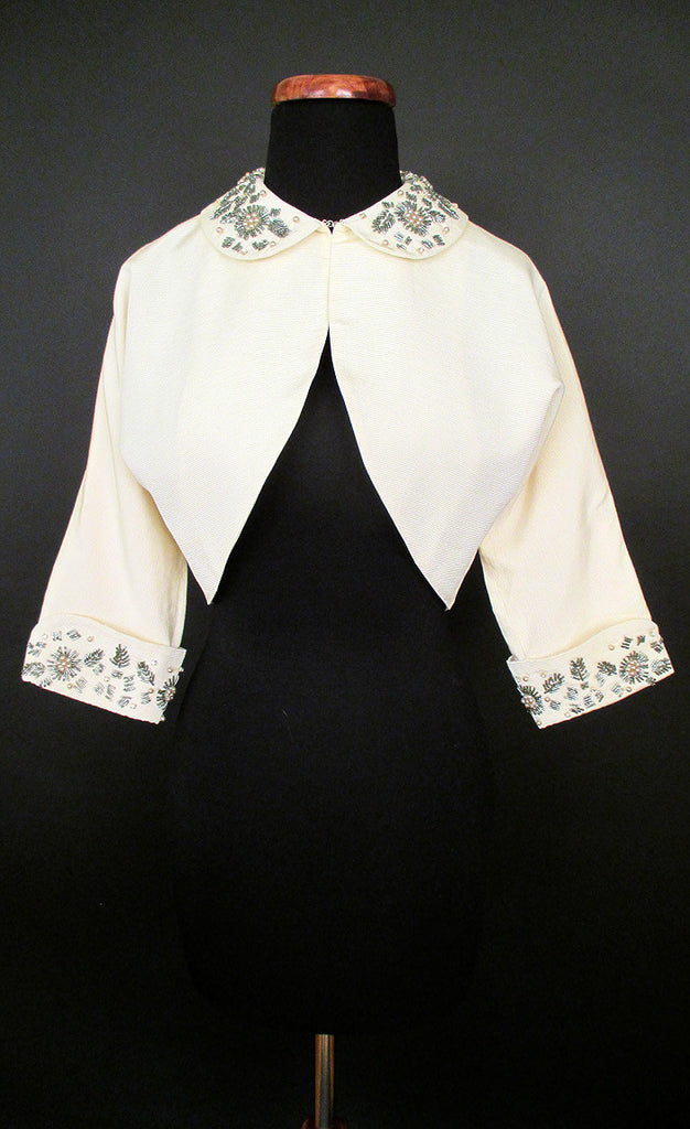 Alabaster Beaded Cropped Bolero Jacket