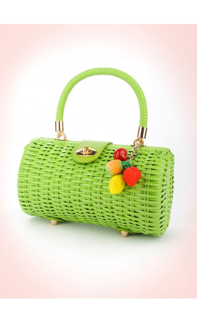 Green Vintage Wicker Purse