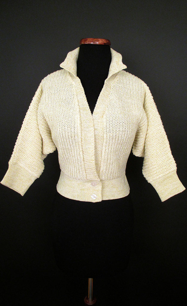 1950's Cream and Gold Lurex Bolero Sweater