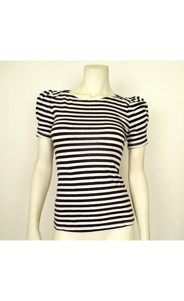 1940's Style Navy Blue Striped Knit Top