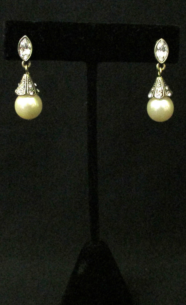 Classic Pearl and Rhinestone Earrings