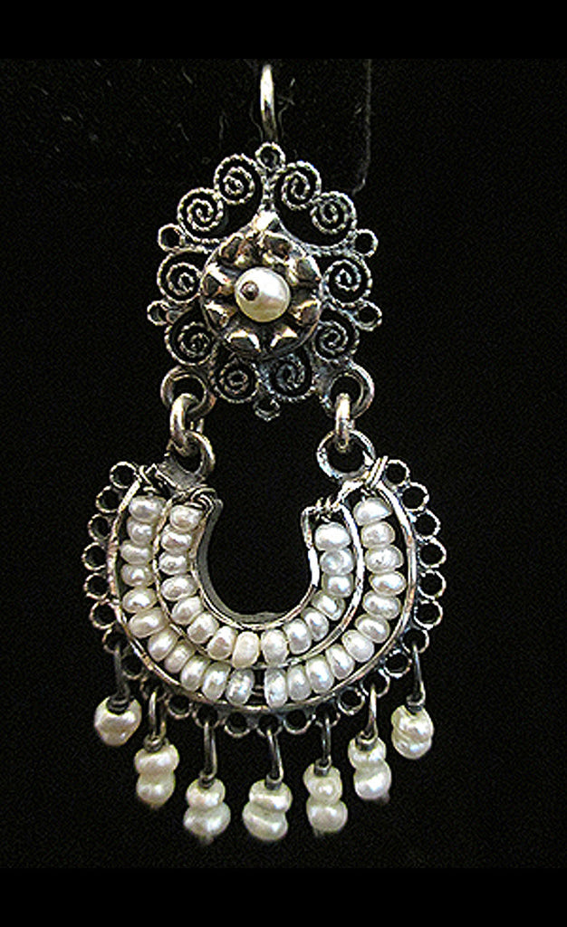 Traditional Silver and Pearl Earrings