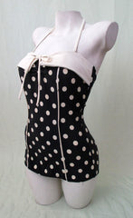 1950's Black and Cream Polka Dot Swimsuit