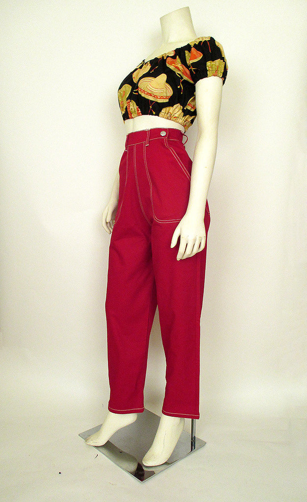 50's Style Side Zip Red Denim Capris