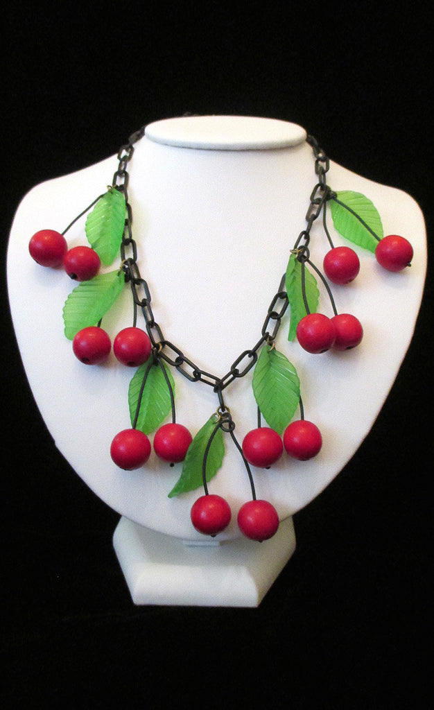 Vintage Red and Green Cherry Necklace