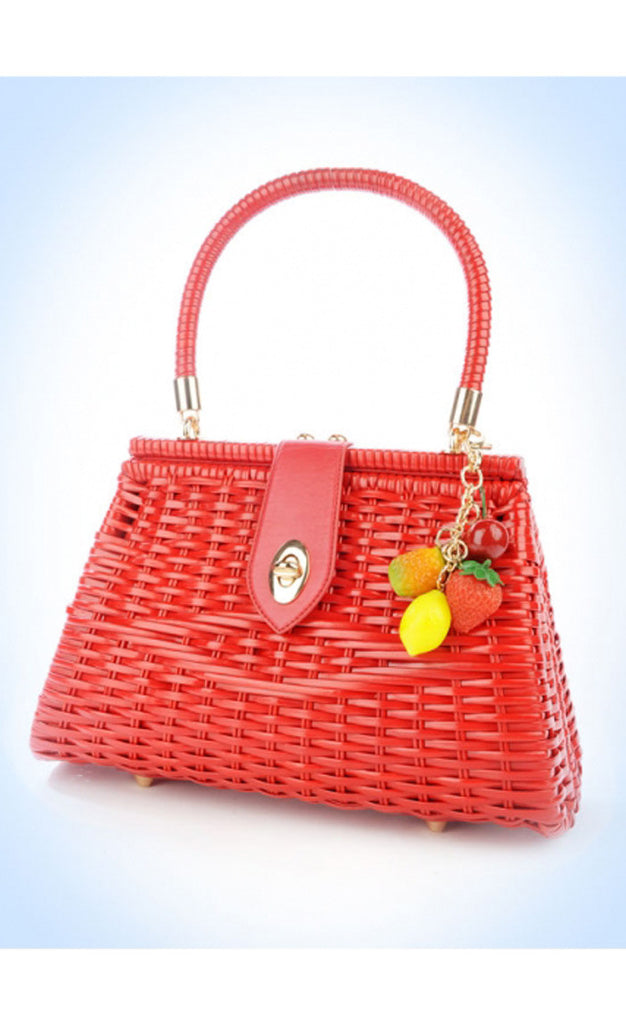 Red Vintage Wicker Purse