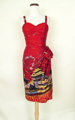 1950's Border Print Sarong Dress