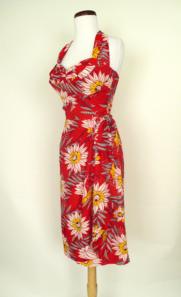 1950's Red Tiki Sarong Dress