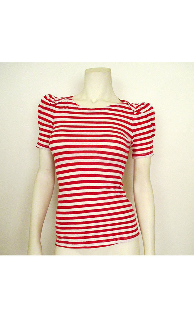 1940's Style Red Striped Knit Top
