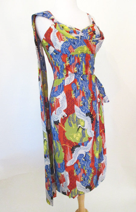 Beautiful Hawaiian Crane Sarong Dress