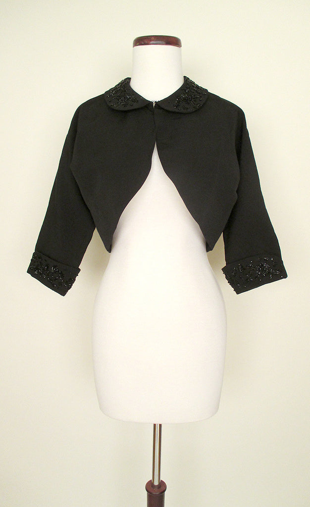 Black Beaded Cropped Bolero Jacket