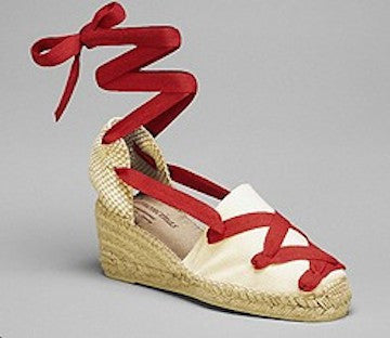 Classic Cream with Red Laces Espadrilles