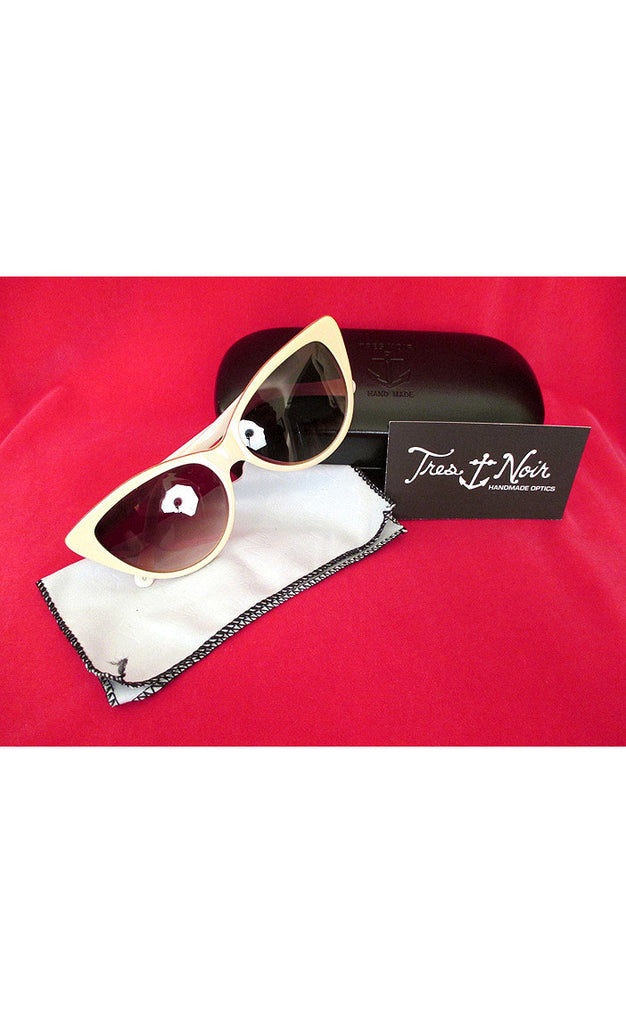 1950's Cat Eye Sunglasses--Cream and Gold