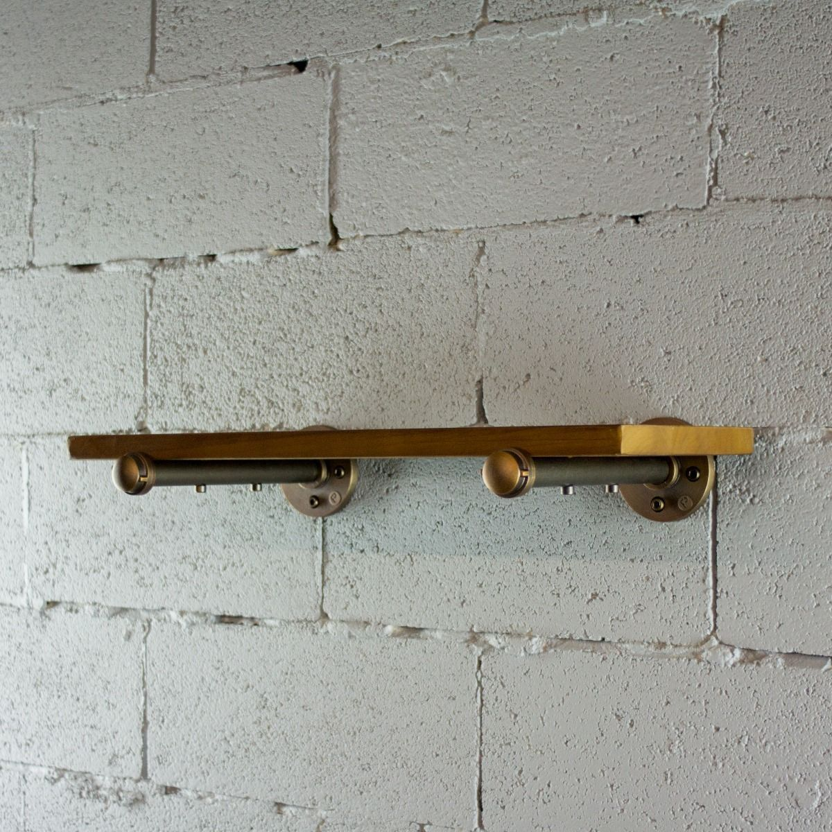 Industrial Vintage Wood Finish Wall Mounted Shelf - MODERNY