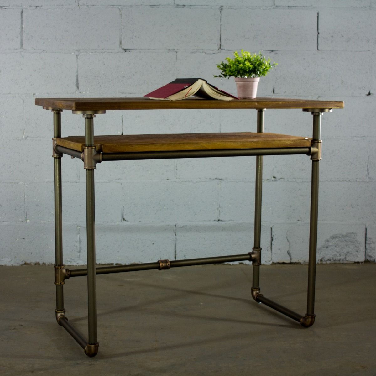 Modern Industrial Home Office Desk with Lower Shelf - MODERNY