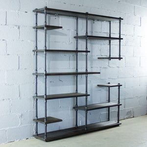 Open Eleven Shelf Industrial Pipe Bookcase - MODERNY