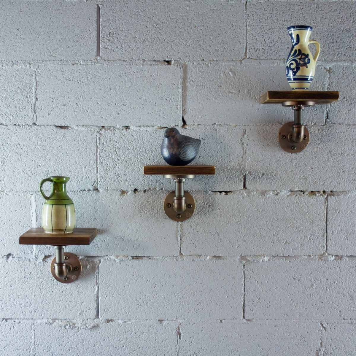 Three Piece Decorative Aged Wood Shelves - MODERNY