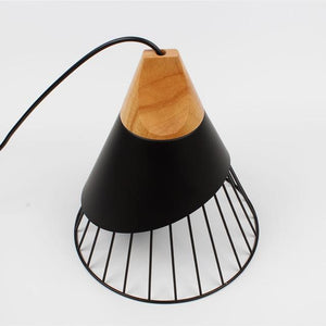 Wooden Base Iron Cage Hanging Nordic Lamp - MODERNY