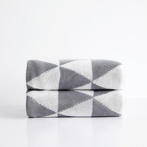 Lexus - Geometric Cotton Knitted Throw Rug - MODERNY