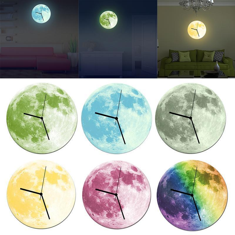 Lua - 3D Glow-In-The-Dark Moon Wall Clock - MODERNY