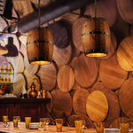 Erato - Hanging Wooden Wine Barrel Light - MODERNY