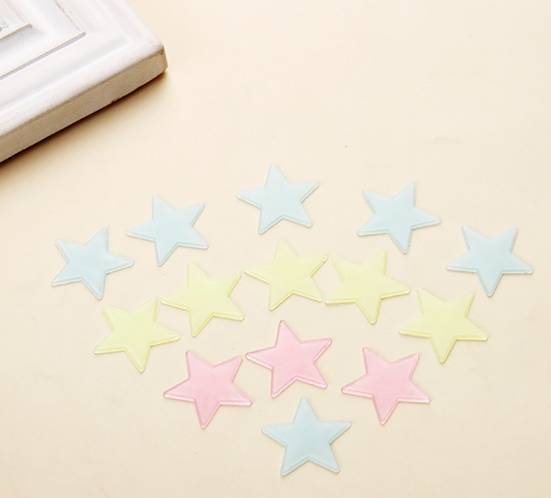 Blue, Pink and Yellow Glow in the Dark Stars