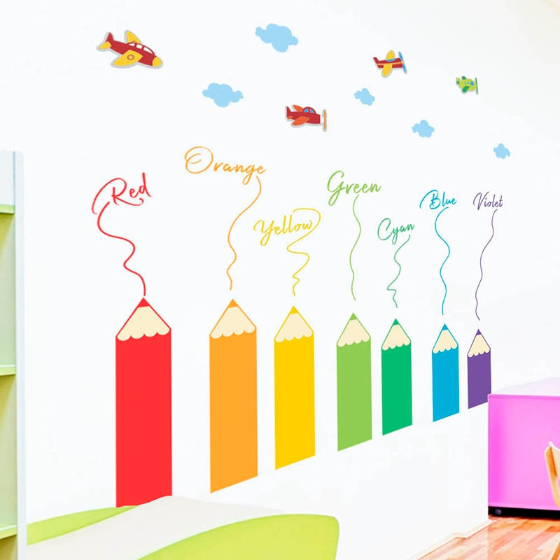 Colorful Pencil Crayons Wall Stickers