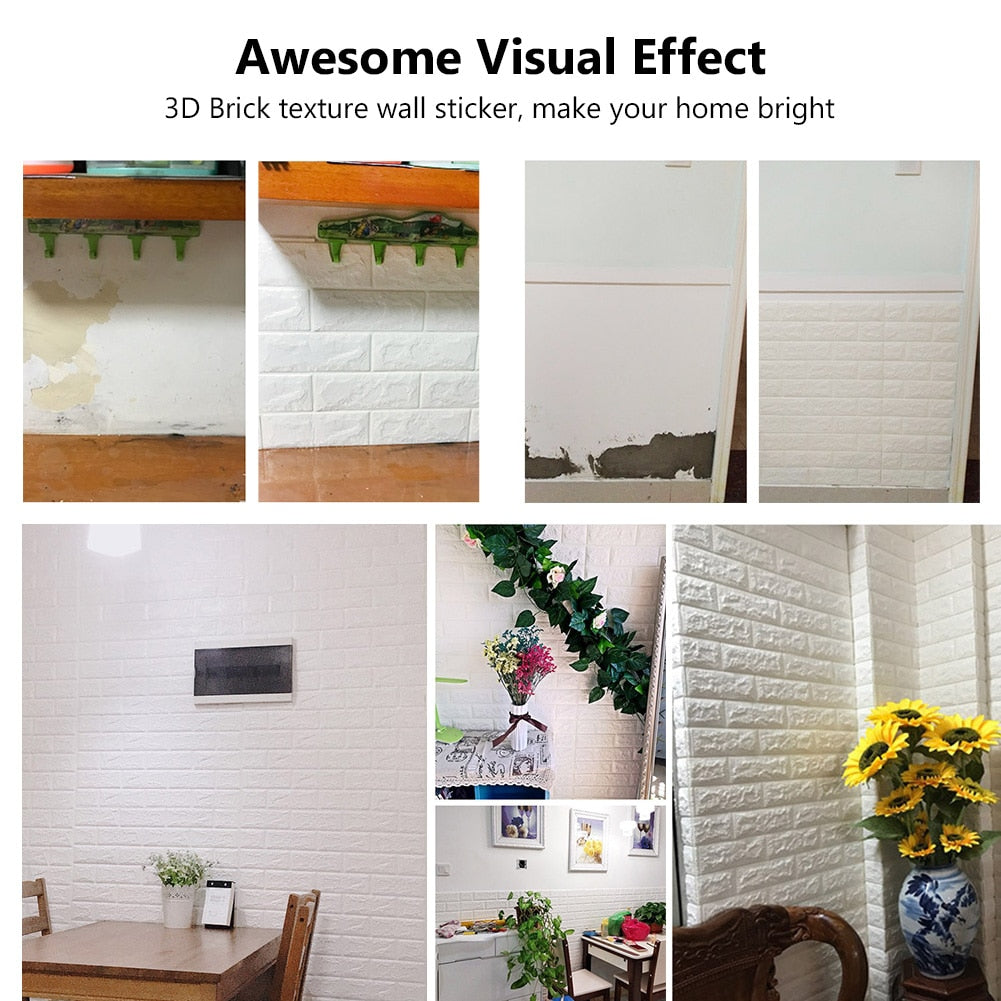 3D Brick Wall Stickers Foam