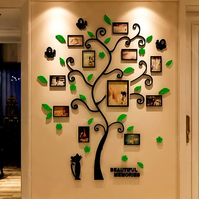 Green 3D Acrylic Family Tree Wall Sticker