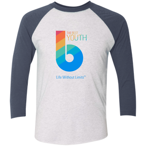 The Best Youth Tri-Blend 3/4 Sleeve Baseball Raglan T-Shirt