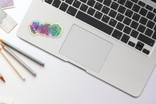 Load image into Gallery viewer, Succulent Holographic Sticker, Laptop Sticker, Water Bottle Sticker, Watercolor Succulent Sticker, Holographic Tumbler Sticker, Succulent