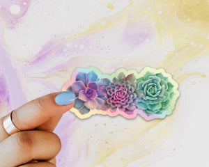 Succulent Holographic Sticker, Laptop Sticker, Water Bottle Sticker, Watercolor Succulent Sticker, Holographic Tumbler Sticker, Succulent