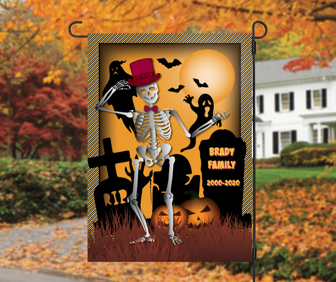 Skeleton Graveyard Garden Flag, Personalized, Halloween Decoration, Fall Garden Flag, Skeleton, Graveyard, Custom Garden Flag, Name Flag