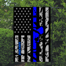 Load image into Gallery viewer, Police Thin Blue Line Gun Garden Flag, Garden Flag, Personalized, Name Garden Flag, Police Decor, Police Flag, Yard Decoration, Gift for Man