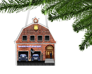 Police Station Personalized Ornament, Police Ornament, Custom Ornament, Police Gift, Police Office, Thin Blue Line Gift, First Responder