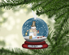 Load image into Gallery viewer, Snowman and Cardinals Snow Globe Christmas Ornament, In Memory, Personalized Ornament, Custom Christmas Holiday, Name Ornament, Kids, Secret Santa Gift, Family Gift