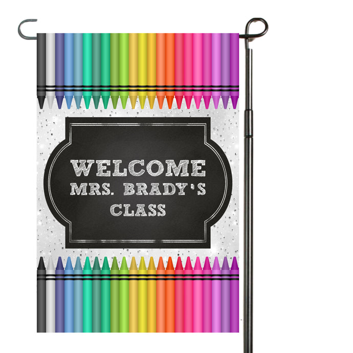 Teacher Crayon Garden Flag, Personalized, Teacher Gift, Name Garden Flag, Crayon Decor, Teacher Decoration, Crayons, Classroom Decoration