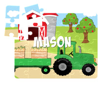 Load image into Gallery viewer, Puzzle, Kids Puzzle, Farm Tractor Puzzle, Children's Custom Puzzle, Personalized Puzzle, Educational Toy, Kid Gift, Name Puzzle, Educational