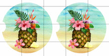 Load image into Gallery viewer, Tropical Beach Pineapple Personalized Car Coasters Set of 2 - Customized - Beach, Ocean, Pineapple, Beach Gift, Car Accessories, Beach Lover