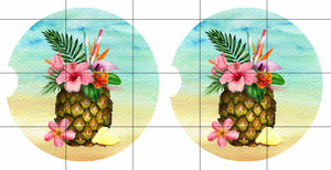 Tropical Beach Pineapple Personalized Car Coasters Set of 2 - Customized - Beach, Ocean, Pineapple, Beach Gift, Car Accessories, Beach Lover