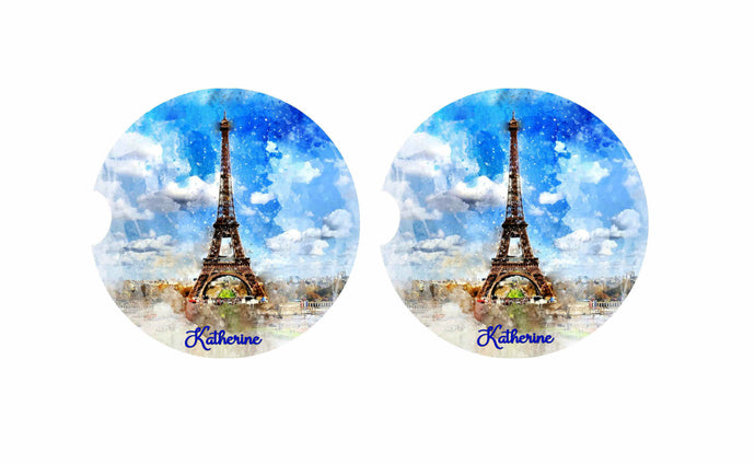 Paris Car Coasters, Eiffel Tower Car Coasters, Personalized, Set of 2, Ceramic, Car Coasters, Custom Car Coaster, Car Coasters, New Car